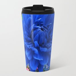CONTEMPORARY BLUE DAHLIA GARDEN ART Travel Mug