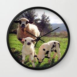 Ewe and Twin Spring Lambs Wall Clock