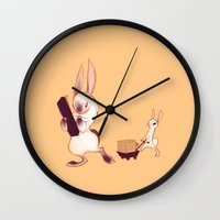 rabbits Wall Clocks featuring Rabbits by Anya McNaughton