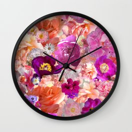 Peonies Tulips & Roses Wall Clock
