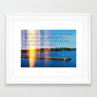 bible verse Framed Art Prints featuring Bible Verse: Sun and Shield by Breathealittlesparkle