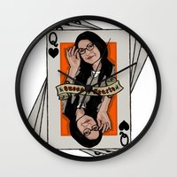 alex vause Wall Clocks featuring Vause - The Queen of Hearts by Vague
