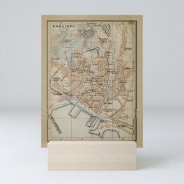 Vintage Cagliari Sardinia Map (1903) Mini Art Print