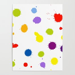 Seamless pattern background with rainbow blots Poster