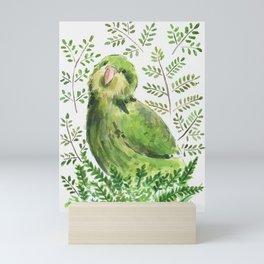 Kakapo in the ferns Mini Art Print