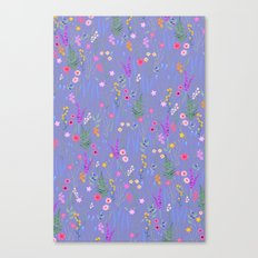 blue meadows colorful floral pattern Canvas Print