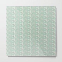 Floral Pattern in Greyish Green Metal Print