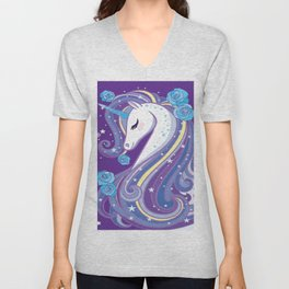 Magical Unicorn in Purple Sky Unisex V-Neck