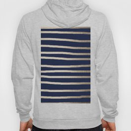 Drawn Stripes White Gold Sands on Nautical Navy Blue Hoody