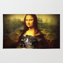 Mona lisa fat crazy cat photo kitty fatso famous painting Rug