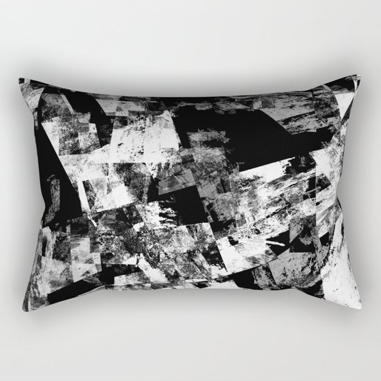 Fractured Black And White - Abstract, textured, black and white artwork Rectangular Pillow