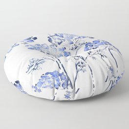 abstract Queen Anne's Lace flower in blue Floor Pillow