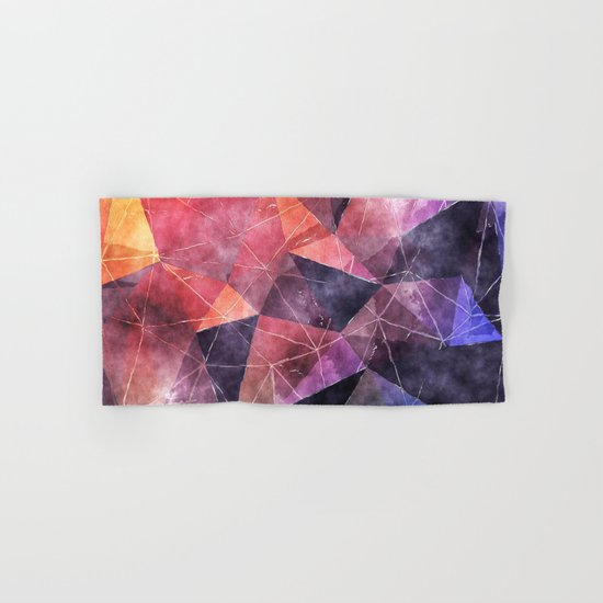 In the deep of the earth- Abstract colorful triangle watercolor pattern Hand & Bath Towel