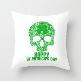 Skull Clover St Patrick's Day Ireland Beer Lovers Irish Gift Throw Pillow