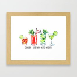 Cuba Libra - Bloody Mary - Mojito - Margarita - Four Cocktails - Watercolour Art - Colourful Print Framed Art Print