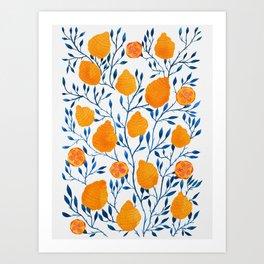 Lemons Botanical Pattern // Blue and Yellow Palette Art Print