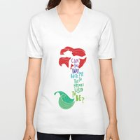 ariel V-neck T-shirts featuring ariel by Sara Eshak