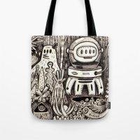 la Tote Bags featuring OGM GARDEN - La visite by Exit Man