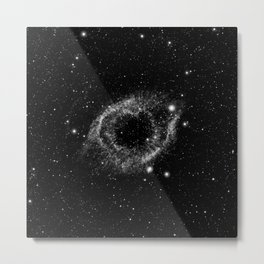 Helix Nebula Black and White Metal Print