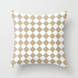 Diamonds - White and Khaki Brown Throw Pillow