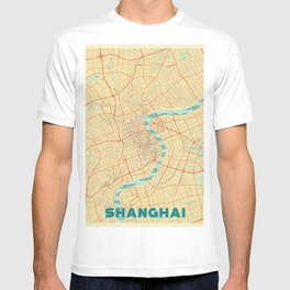 Shanghai Map Retro T-shirt