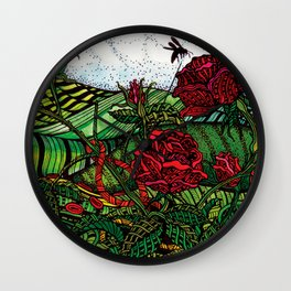 Red Roses - Watercolor Illustration Wall Clock