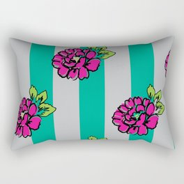Pop Pink Flowers on Mint Stripe Pattern Rectangular Pillow
