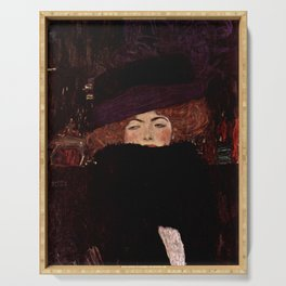 "Gustav Klimt ""Lady with Hat and Feather Boa"" Serving Tray"
