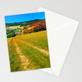 Path down and up to the village center Stationery Cards