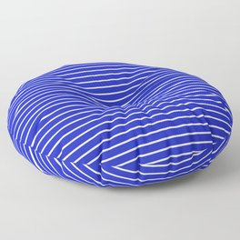 Royal Blue and White Horizontal Stripes Floor Pillow
