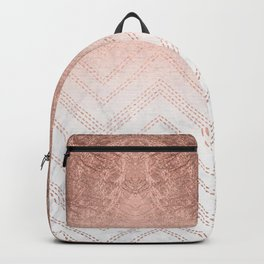 Modern faux rose gold ombre chevron sticth white marble pattern Backpack