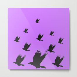 FLYING FLOCK BLACK CROWS/RAVENS ON LILAC COLOR Metal Print