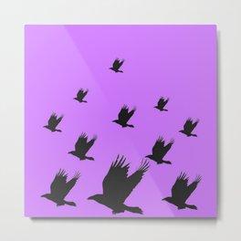 FLYING FLOCK BLACK CROWS/RAVENS ON LILAC COLOR Metal Print