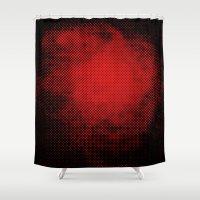 et Shower Curtains featuring rouge et noir 6 by Sébastien BOUVIER