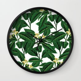 Evergreen floral flower herbal #society6 Wall Clock