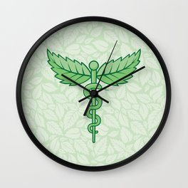 Caduceus with leaves Wall Clock