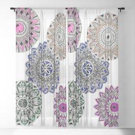 Colorwheel Mandala, Geometric Art Sheer Curtain