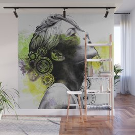 Burnt By The Sun (street art woman portrait with mandalas) Wall Mural