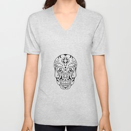 Mexican Skull Triskele Celtic Cross Tattoo Unisex V-Neck