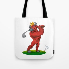 bull with a stick for a golf Tote Bag