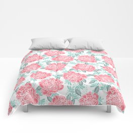Peony flowers white pink and green trendy girly floral bouquet painted flowers botanical pattern Comforters