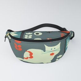 White cat and holiday decor Fanny Pack