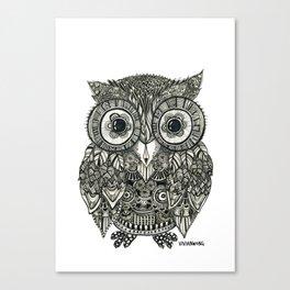 Zentangle Owl Fineliner Pen Drawing Canvas Print