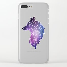 Geometric Wolf   Low Poly Galaxy Wolf Pack Clear iPhone Case