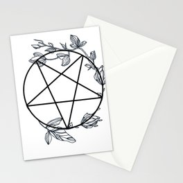 Witch's Pentagram with Flora Adornments Stationery Cards