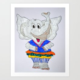 elephant in striped pants Art Print