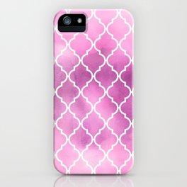 Moroccan Trellis, Latticework, Watercolors - Pink iPhone Case