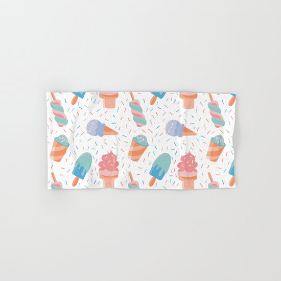 pastel ice cream pattern Hand & Bath Towel