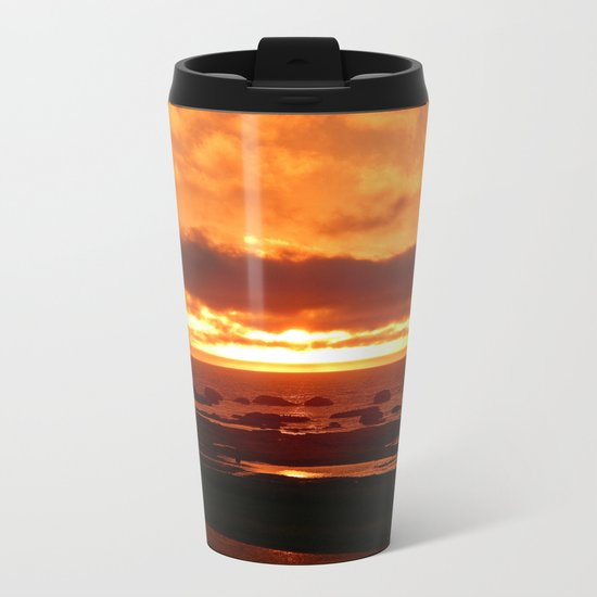 Skies of Fury at Sunset Metal Travel Mug