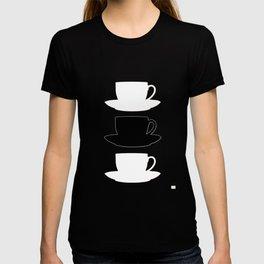 Retro Coffee Print - Black & White Cups on Burnished Orange Background T-shirt